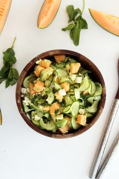 Cucumber Noodle Cantaloupe Salad with Avocado and Feta | Inspiralized