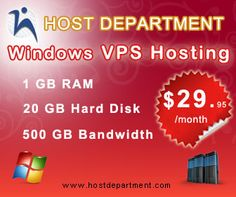 Host Department is pleased to offer Windows VPS hosting for all plans, starting with our entry level $29.95 per month plan all the way up through our Enterprise level plans! We use state of the art hosting management software, called Virtuozzo, to implement our VPS environments.