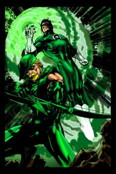 green lantern (harold 'hal' jordan) / green arrow (oliver jonas queen) - art by james lee stone