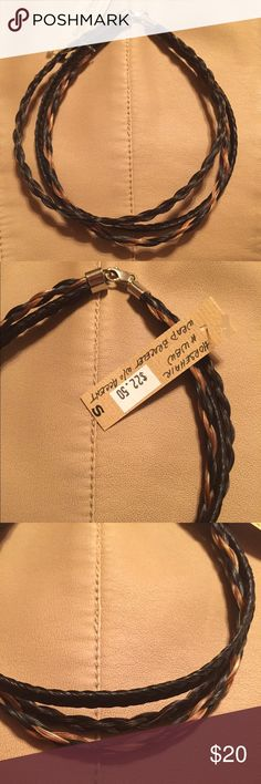 """HORSE HAIR"" THREE STRAND CHOKER! Very well made! Three strands with black and brown tones. 14""long. Jewelry Necklaces"