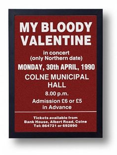 My Bloody Valentine Framed Gig Poster Print by indieprints on Etsy, $20.00