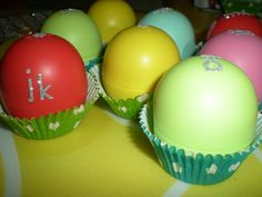eos lip balms decorated as easter egg gifts :)