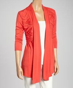 Another great find on #zulily! Colour Works Orange Pleated Open Cardigan by Colour Works #zulilyfinds