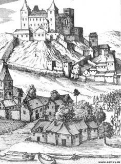 1655 Medieval Town, Bratislava, Old City, Old Pictures, Maps, Castle, Times, Painting, Black