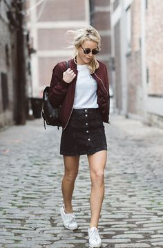 Mary Seng + ultra cute + bomber jacket outfit + button front skirt + simple white tee + sneakers + stylish burgundy bomber + perfect fresh look Jacket/Skirt/Tee: Topshop, Sneakers: Nonames, Backpack: Coach. Mode Outfits, Skirt Outfits, Casual Outfits, Fashion Outfits, Fashion Fashion, Fashion Women, High Fashion, Fashion Trends, Cute Bomber Jackets