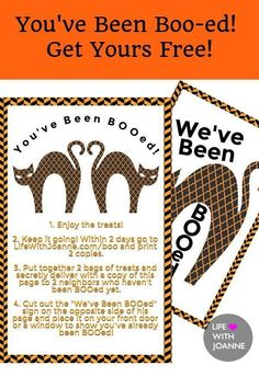 YOU'VE BEEN BOO-ED! Get yours FREE! #youvebeenbooedfree #youvebeenbooed #halloweenfreebie #halloweenfree #halloweenprintable via @joannegreco