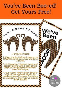 YOU'VE BEEN BOO-ED! Get yours FREE! #youvebeenbooedfree #youvebeenbooed #halloweenfreebie #halloweenfree #halloweenprintable via @joannegreco