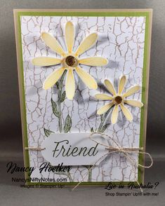 Daisy Lane by Stampin' Up! CASE'd from Cheryl Piotrowski Crackle Painting, Paint Cards, Punch Out, Circle Punch, Paint Background, Flower Center, Daffodils, Cheryl, Daisies