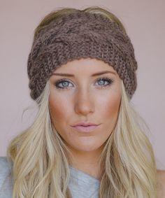 Mocha Cable Knit Headband - Women