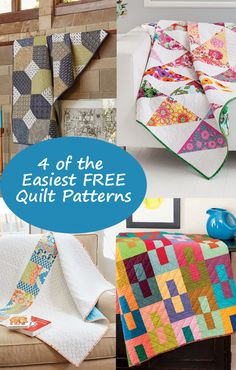 Discover 4 of the easiest FREE quilt patterns. Click through to download the eBook.