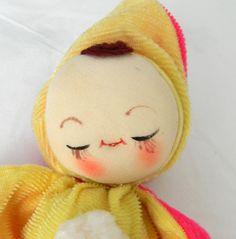 Vintage 1960's Asleep Awake Cloth Doll Floppy Velvet Baby