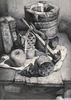Still Life Sketch, Still Life Drawing, Still Life Art, Landscape Pencil Drawings, Pencil Sketch Drawing, Art Drawings Sketches, Realistic Drawings, Easy Drawings, Pencil Painting