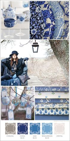 Love these blues, esp the stack of fabrics and the ornaments.  That Wedgewood Blue, yum.