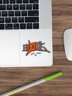 'I love fish - Cat in Statement Shirt ' Sticker by Kerstin Ebner Funny Stickers, Sticker Design, Fish, My Love, Cats, Shirt, Prints, Stuff To Buy, Gatos
