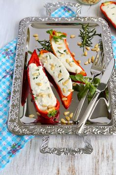 Stuffed Sweet Pointed Peppers with Goat Cheese and Pine Nuts
