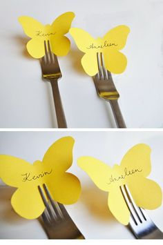 super cute name card ideas, the silver of the fork with the yellow paper goes super well with the grey & yellow theme I am dreaming up in my head <3