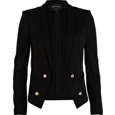 River Island Black scuba tux blazer ($28) ❤ liked on Polyvore featuring outerwear, jackets, blazers, tops, coats, sale, blazer jacket, tuxedo blazer, tux jacket and evening jacket