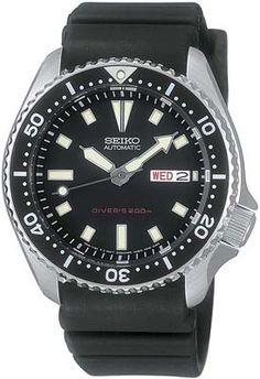 Seiko Divers Watch Black dial Rubber strap Mens Watch SKX173 BY Seiko