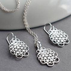 Silver Flower Knots Jewellery Set