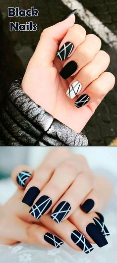 Most Beautiful Black Winter Nails Ideas Such a cute black nails ideas!Such a cute black nails ideas! Cute Black Nails, Cute Nails, Pretty Nails, My Nails, Yellow Nail, Black Nail Art, Purple Nail, Dark Nails, Colorful Nail Designs