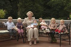 Queen Beatrix with seven of her grandchildren; Princess Eloise, Princess Catharina-Amalia, Prince Claus, Princess Alexia, Princess Emma, Princess Leonore and Princess Zaria. She has a total of eight granchildren