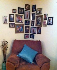 Chair Corner Picture Wall - PersonalizationMall Picture Frames would look awesome in the pattern!