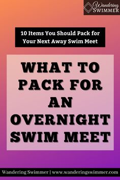 When you pack for an overnight swim meet, it's important to consider everything you need. Here's a packing list to help ensure you don't forget anything. Swim Meet, What To Pack, Don't Forget, Encouragement, Packing, Swimming, Bag Packaging, Swim