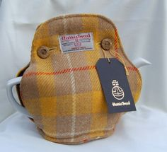 Yellow check Harris Tweed tea cosy