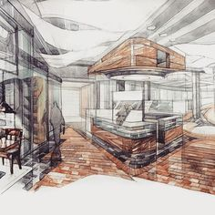 Affordable Home Decorations Referral: 3649293701 Interior Design Sketches, Interior Rendering, Sketch Design, Interior Exterior, Decor Interior Design, Drawing Interior, Architecture Drawings, Interior Architecture, Classical Architecture