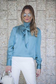 86d67b4db460f Camisa de seda feminina – Looks modernos e de extrema Elegância.