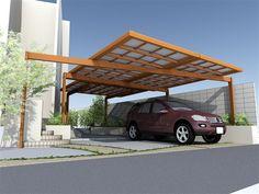 モダン カーポート - Google 検索 Cantilever Carport, Roof Design, House Design, Carport Garage, Carport Designs, Porte Cochere, Front Fence, Parking Design, Forest House