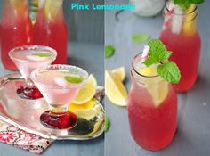 Delicious pink lemonade made with cranberry juice.