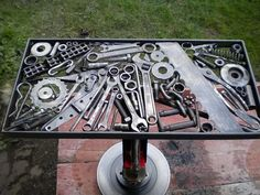 """DIY for Men, Man Caves Football Season This DIY """"Tool"""" table will be right at home in any garage or man cave. Gather up some metal, your welder, and start piecing it together. Basically, what we do already :) Welding Table, Welding Art, Welding Ideas, Welding Crafts, Welding Tips, Welding Design, Cool Welding Projects, Welding Process, Industrial Furniture"""