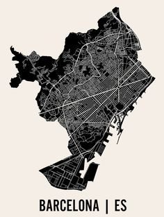 Barcelona Map Art Print | Barcelona Print | Barcelona Art Print | Barcelona…