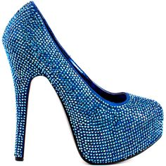 Simple but stunning! Bordello brings you a classic silhouette that every fashionista needs in her collection. Biggest Little City features a lavish blue satin covered in an array of sparkly rhinestones, showcased by a 5 3/4 inch heel and a 1 1/2 inch platform.