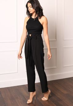 1b5ab207267 Luxe High Waist Tailored Tapered Trousers with Self Tie Belt in Black – One  Nation Clothing