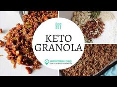 A delicious healthy keto granola recipe. Homemade grain free granola made easy using nuts, coconut, sweetener and spices. ****Recipe can be found here - http. Keto Granola, Grain Free Granola, Gourmet Recipes, Low Carb Recipes, Healthy Recipes, Healthy Breakfasts, Keto Cereal, Healthy Fruits, Low Carb Keto