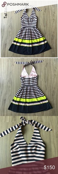 """NWOT Ted Baker London Candy Stripe halter dress 0 A classy halter striped dress ready for your next date night.  * NWOT * Mixed stripes style * Halter neck with self tie closure * Sleeveless * Lined * Bust: 15"""" approx. laying flat * Length: 30"""" approx. laying flat from armpit to hem * Shell: 100% polyester * Lining: 95% polyester, 5% elastane  * Machine wash cold, hang dry  * Bundle discount * No trades * Smoke free, pet friendly home Ted Baker Dresses Midi"""