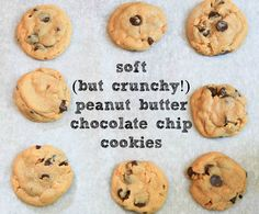 Soft (but Crunchy!) Peanut Butter Chocolate Chip Cookies | greens & chocolate