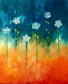 Cute as buttons Daisy painting, beginner painting idea. View Paint and Sip Artwork - Pinot's Palette Wine And Canvas, Paint And Sip, Painting Inspiration, Painting & Drawing, Gouache Painting, Flower Art, Canvas Art, Canvas Ideas, Canvas Paintings