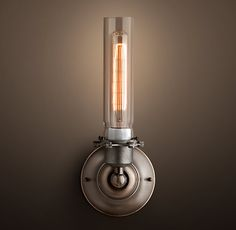 """Edison Glass Single Sconce - Gunmetal-- Another option for bedrooms by switch-- depth is 4"""""""