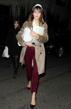 Alexa Chung leaving Mulberry after party during 2012 London Fashion Week.