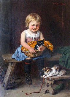 by Hugo Oehmichen 1843 – 1933 German I Love Cats, Crazy Cats, Cute Cats, Baby Illustration, Victorian Art, Here Kitty Kitty, Beautiful Paintings, Love Art, Cat Art