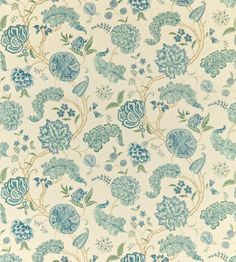 Shop for Fabric at Style Library: Palampore by Sanderson. Elaborate, mystical flowers grow in abundance from a tree trunk in this delightful Indian . Sanderson Fabric, Painted Rug, Made To Measure Curtains, Pattern Matching, Curtains With Blinds, Life Design, Growing Flowers, Fabric Wallpaper, Curtain Fabric