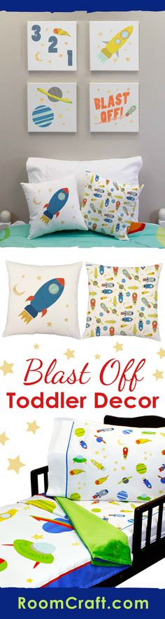 1.. 2.. 3.. Blast Off! Let your little astronaut explore the galaxy with these outer space toddler bedding and room decorations. They can cuddle up with the super soft minky blanket on their coordinating fitted sheet and pillowcase. The cute throw pillows are perfect for them to relax against in a window seat or reading corner. And complete the look with some adorable wall art canvases. Our Blast Off toddler collection makes decorating fun and easy! #roomcraft