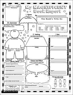 "Printable Book Report.  Many students don't know where to begin writing a ""book report""; this handout will have my students digging deeper for information."