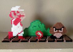 Items similar to Super Mario Brothers Inspired Fire Power Standee on Etsy Mario Crafts, Fun Crafts, Arts And Crafts, Fuse Beads, Pearler Beads, Pixel Art, Super Mario Brothers, Mario Bros, Art Perle