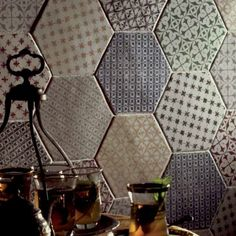 Hexagon marrakech gris Mosaico 15x15 cm, carrelage hexagonal de cuisine au bords irréguliers
