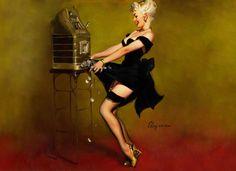 Retro Pinup Girl Quality Canvas Print Poster Gil Elvgren Pokies Win | eBay