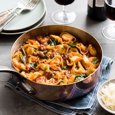 This hearty One Skillet Sausage & Marinara Tortelloni is perfect for a busy weeknight.  The addition of fresh spinach truly makes this a one dish meal.
